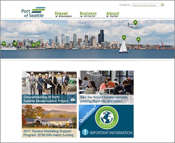 Port of Seattle Website Homepage