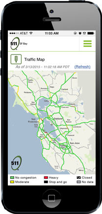 511 Mobile - mobile device with 511 Traffic Map image