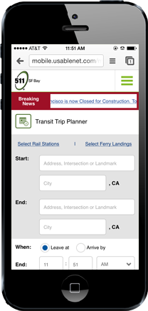 511 Mobile - mobile device with Transit Trip Planner image